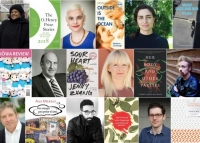 Tiled collage of authors and book covers